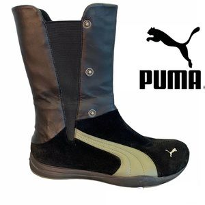 Puma Black pull on  leather and suede boots with olive green detail size 8